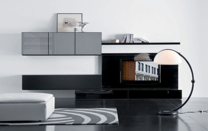 Modulare Wohnwand Mit Sideboard Für Wohnzimmer In Grau Schwarz