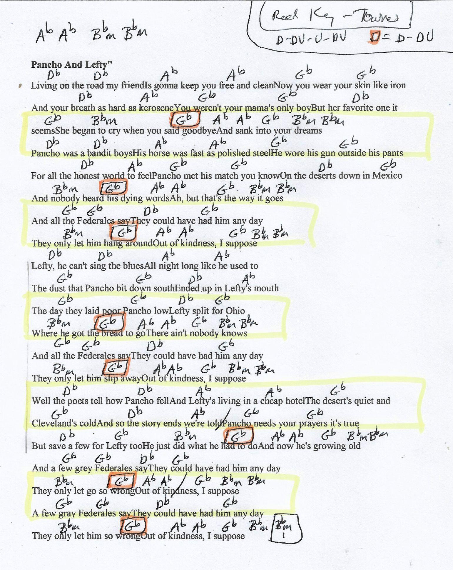 Pancho and Lefty Townes Van Zandt Guitar Chord Chart in Db Major ...
