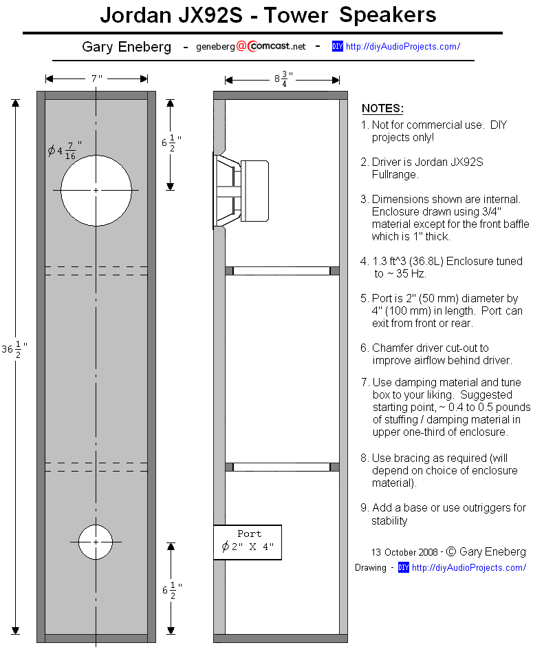 Enclosure Plan Jordan Jx92s Tower Speaker With Images