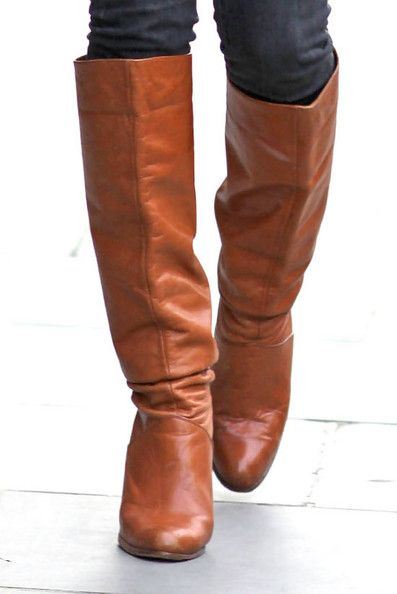 brown leather flat knee high boots