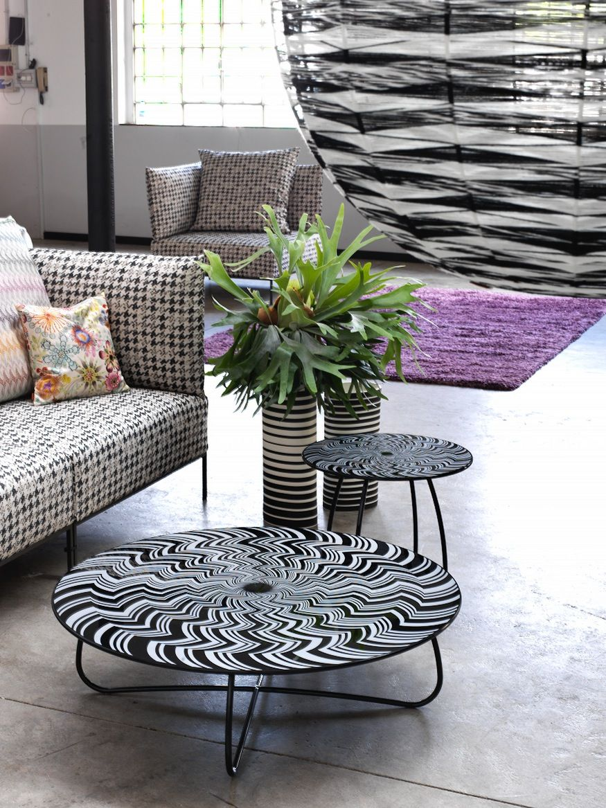 Round coffee table with black and white zig zag pattern by missoni