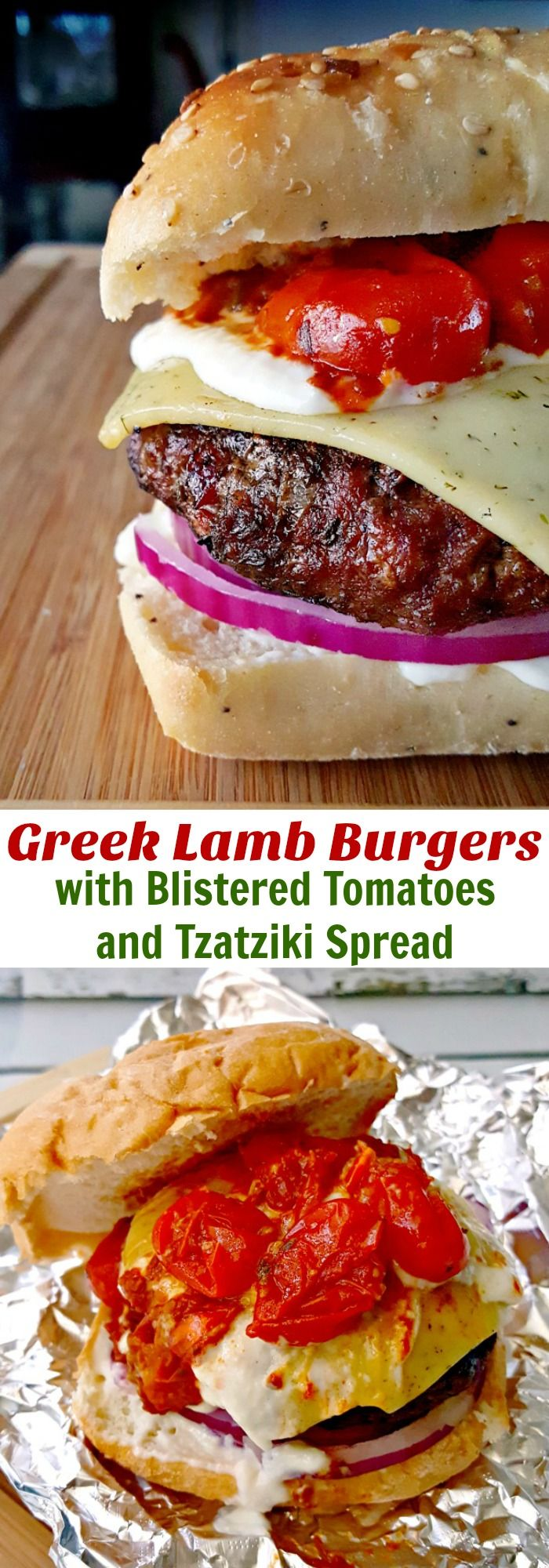 Packed with Greek flavors, these Greek Lamb Burgers with Blistered Tomatoes and Tzatziki Spread sound complicated, but are pretty easy to prepare and will amaze your guests and family. #SundaySupper @akitchenhoor