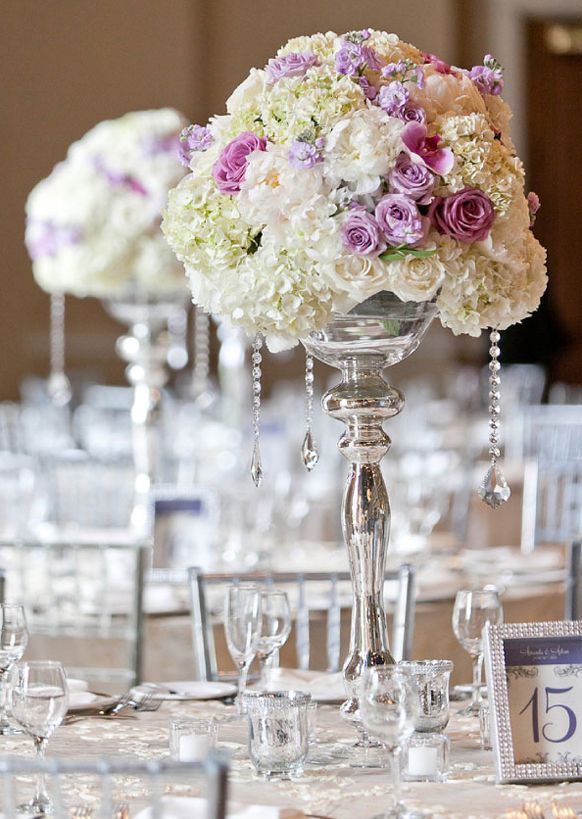 Silver Wedding Theme Reception Centerpiece With Crystals