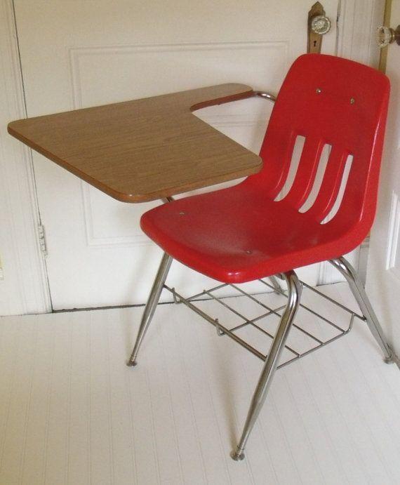 Mid Century Virco Red Arm Chair Desk   Vintage School Studentu0027s Virco  Signature Dark BubbleGum Pink