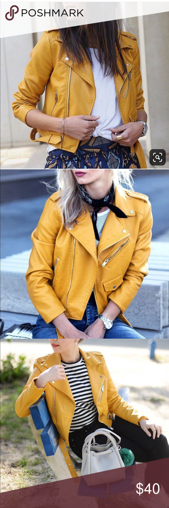 Zara yellow mustard Faux leather jacket (With images