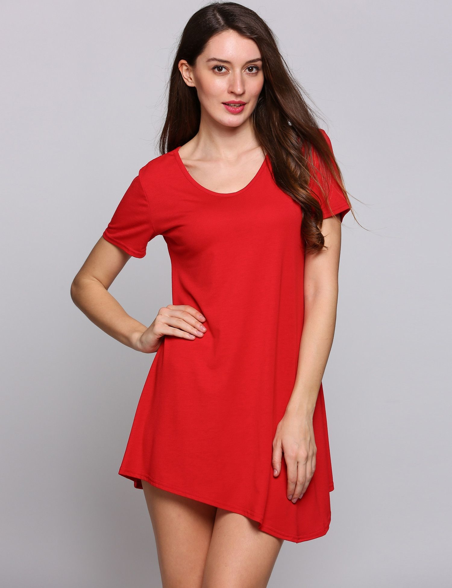 Red short sleeve o neck asymmetrical hem solid shift casual dress