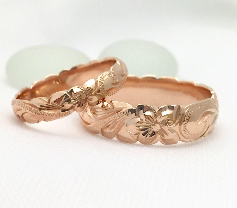 gold wedding ring set of traditional hawaiian hand engraved 14k