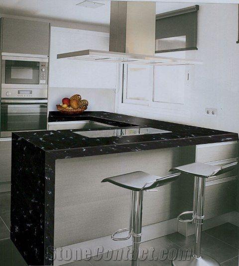 Bancada De Cozinha Em Granito Preto Via Lactea Com Imagens