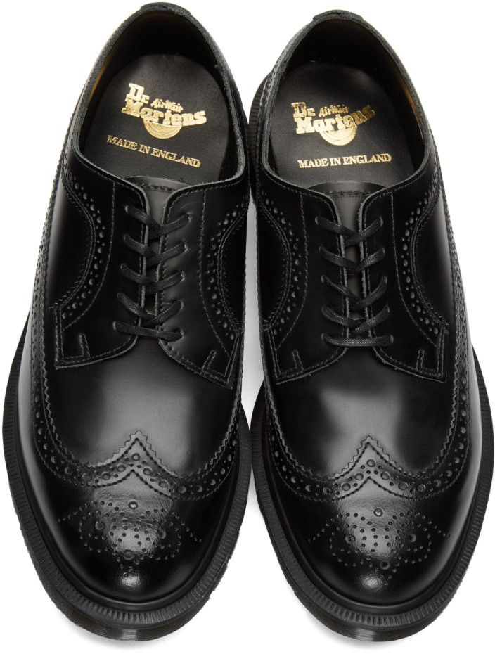 765d6a8fcc Dr. Martens - Black 'Made In England' 3989 Boanil Brush Brogues ...