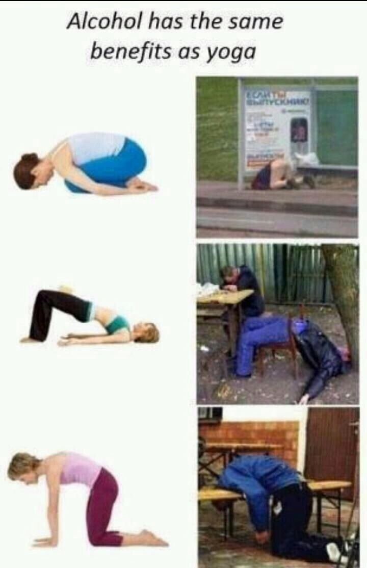 Alcohol has the same benefits as yoga Hahaha  Yoga  Pinterest