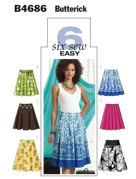 Butterick 4686 6 Sew Easy Skirt Sewing Sew Pattern And Sewing