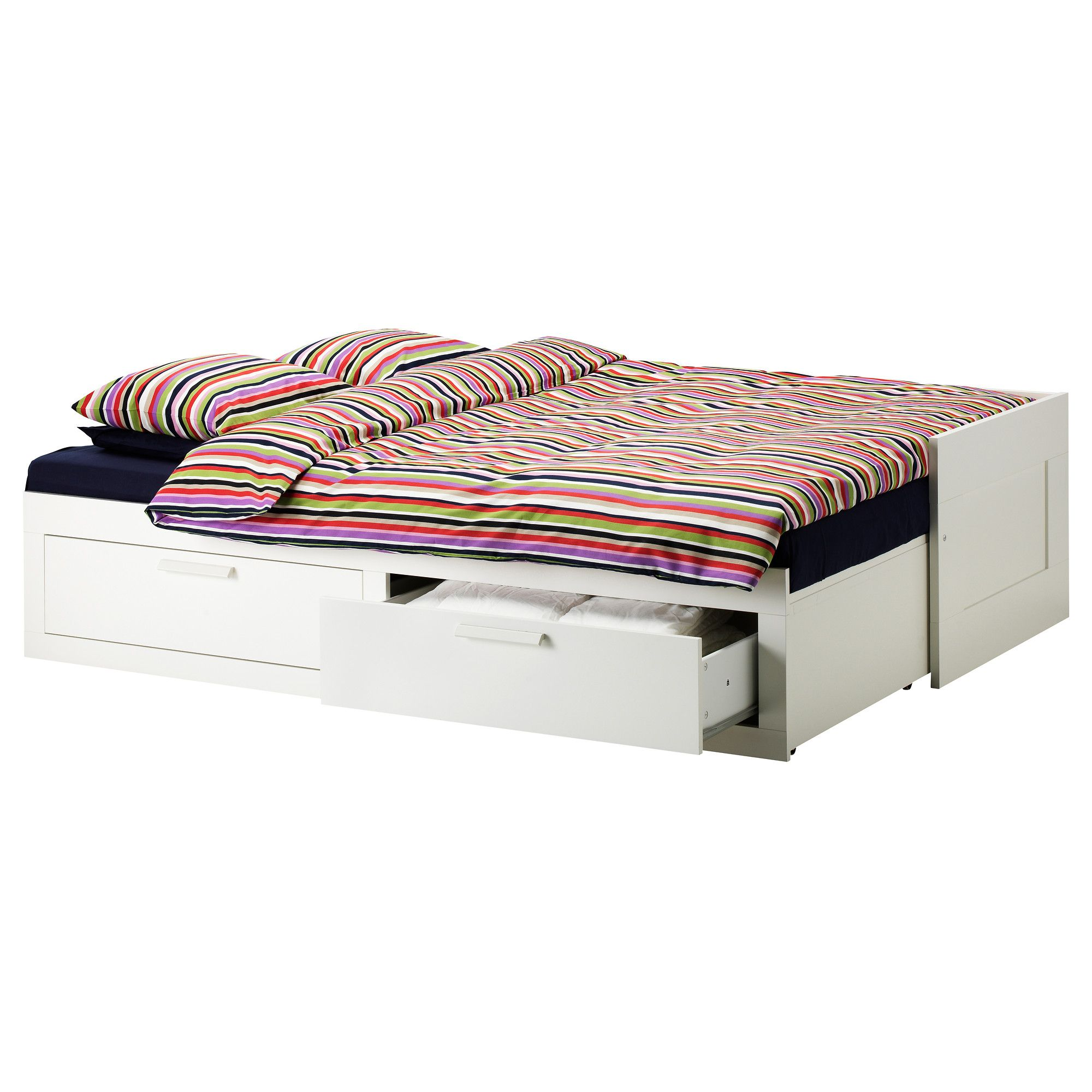 BRIMNES Day-bed w 2 drawers/2 mattresses White/moshult firm IKEA ...