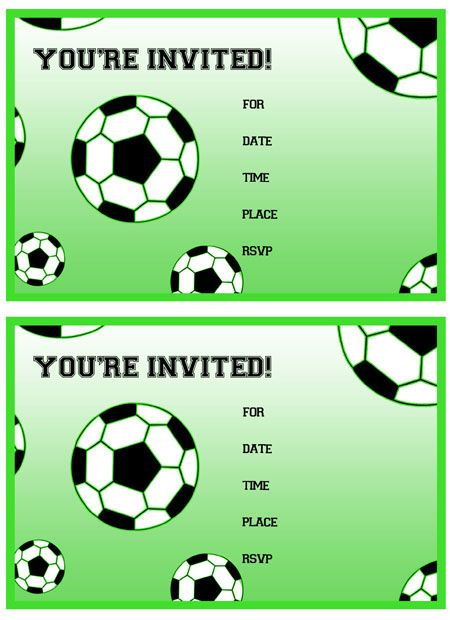 Free Printable Soccer Birthday Party Invitations from – Free Printable Party Invitations for Kids Birthday Parties
