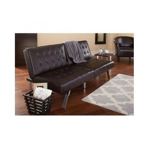 Brown Futon Sofa Bed Sleeper Faux Leather Convertible Furniture Tufted Home