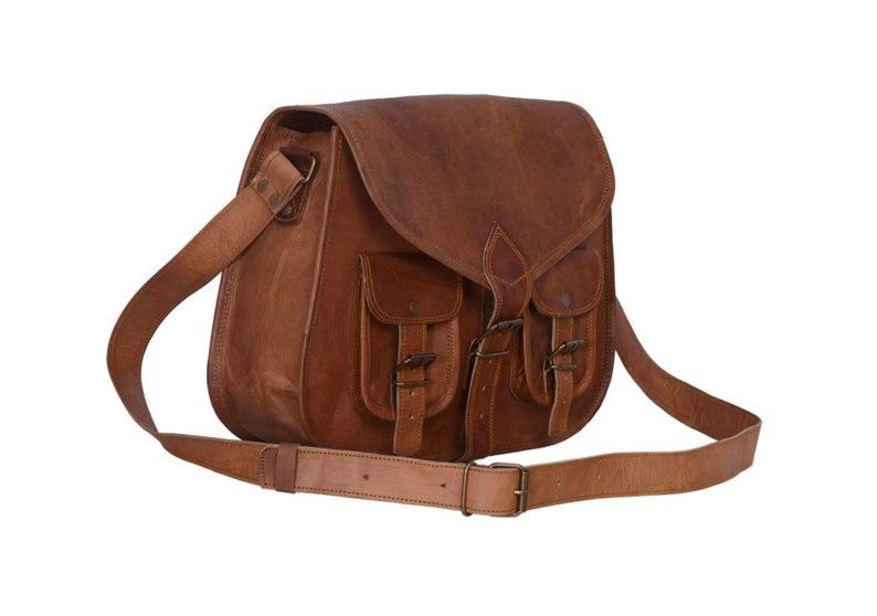 Womans Purse Vintage Leather Bag Genuine Brown Leather Bag Travel Handbag Small Bag. Brown Leather Bag