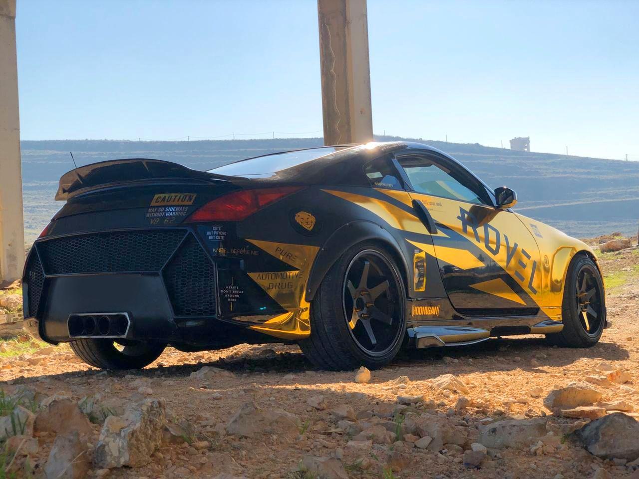 rovel 350Z drifting gold chrome car design #drift #driftcar #racingcar #goldchrome #cardesign #carwrap #goldandblack