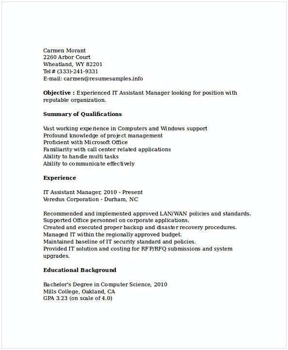 Assistant It Manager Resume  It Operations Manager Resume  Do