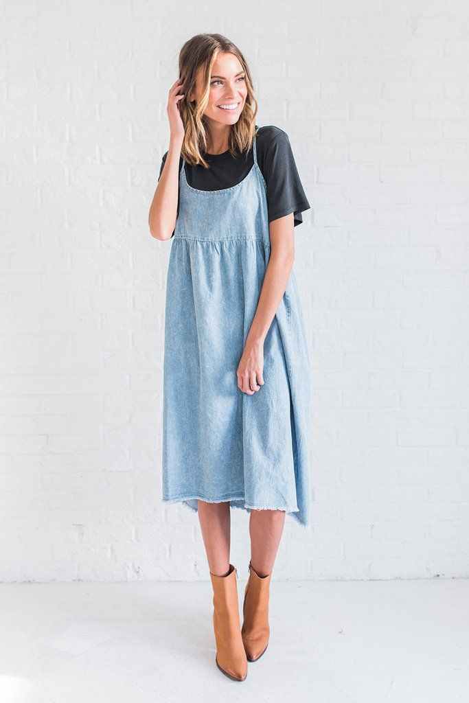 7669be9dd9f DETAILS  Spaghetti strap denim dress Fabric Content  100% Cotton Model is  wearing a small