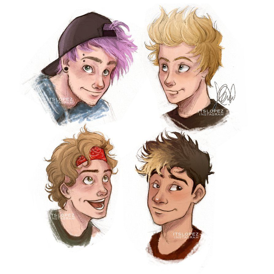 5SOS headshots by itslopez on DeviantArt