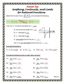 Form A Graphing, Continuity, and Limits with Rational ...