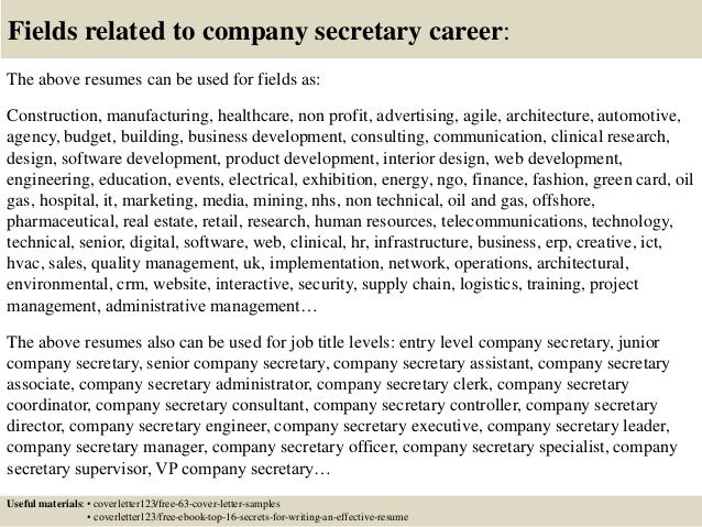 top company secretary cover letter samples sample fundraising position example for job