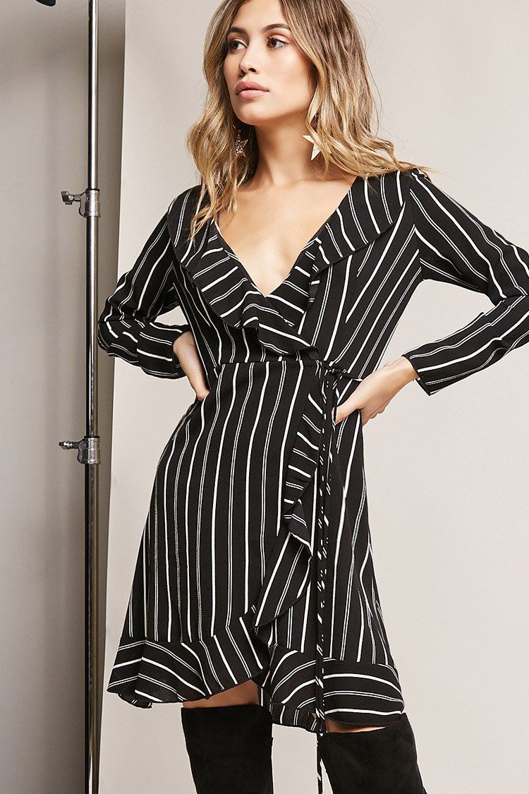 5e1a417d4370 Product Name Pinstripe Ruffle Wrap Dress