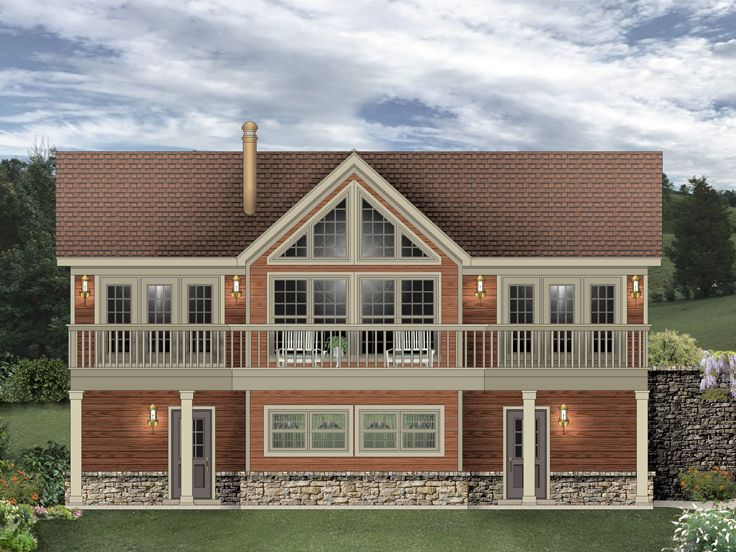 006g 0170 carriage house plan designed for a sloping lot for Carriage garage plans