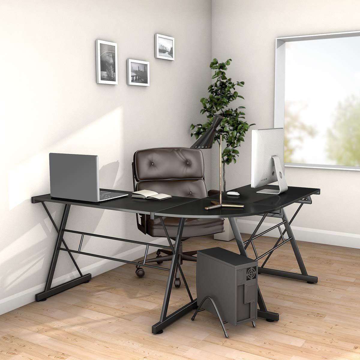 L-Shape Black Wood Computer Desk #gamingdesk