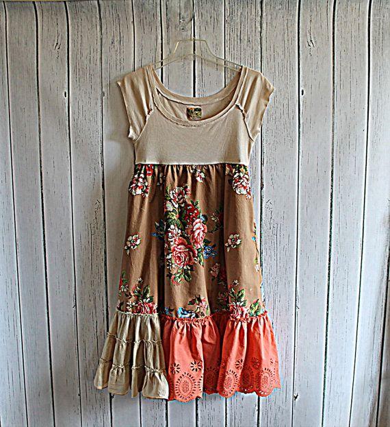 Boho Women's Upcycled Dress / Praire Chic / Ladies ...