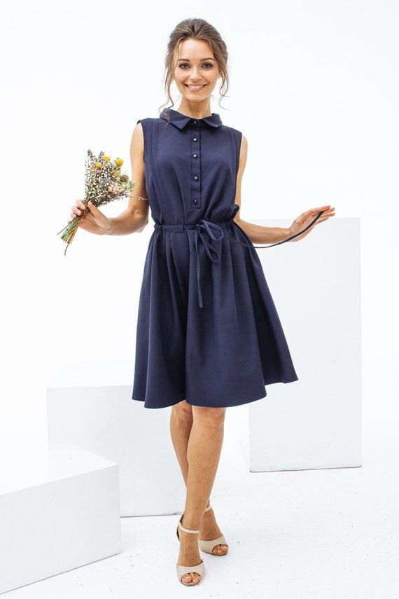 76d17f9f104 Sleeveless a-line shirt dress with adjustable waist