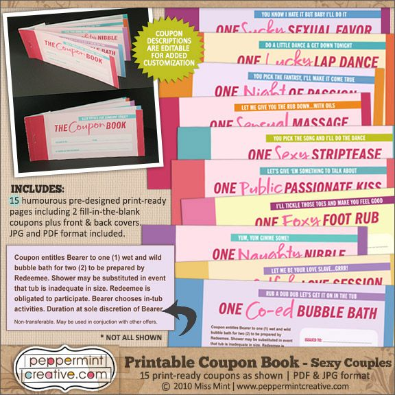 Coupon Book Sexy Couples - $795  Peppermint Creative, Digital - coupon format