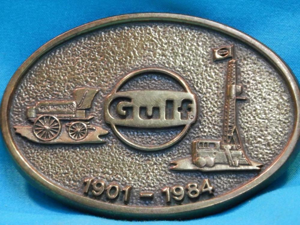 EXCELLENT VINTAGE GULF Oil 1901-1984 SOLID BRASS OILFIELD BUCKLE