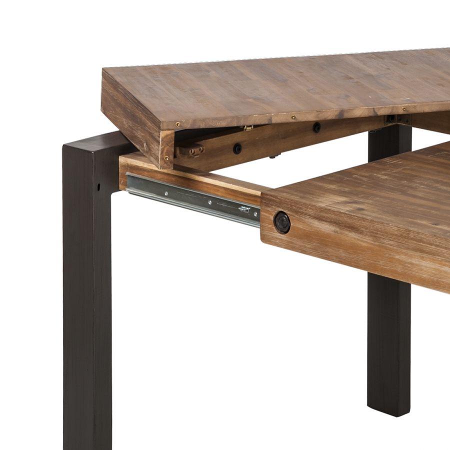 table manchester (avec rallonge) - acacia massif / métal - 160 x