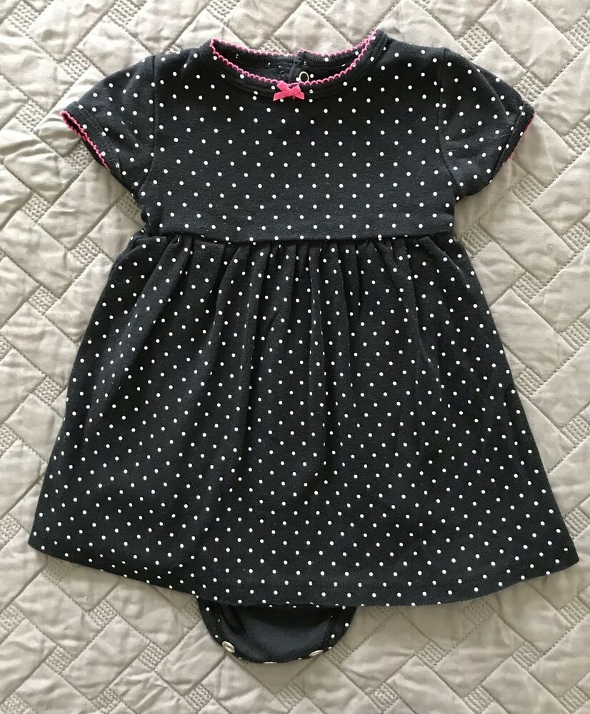 47ebbc9cabaa Carters Short Sleeve Dress 9 Months Girls Black White Pink Polka ...
