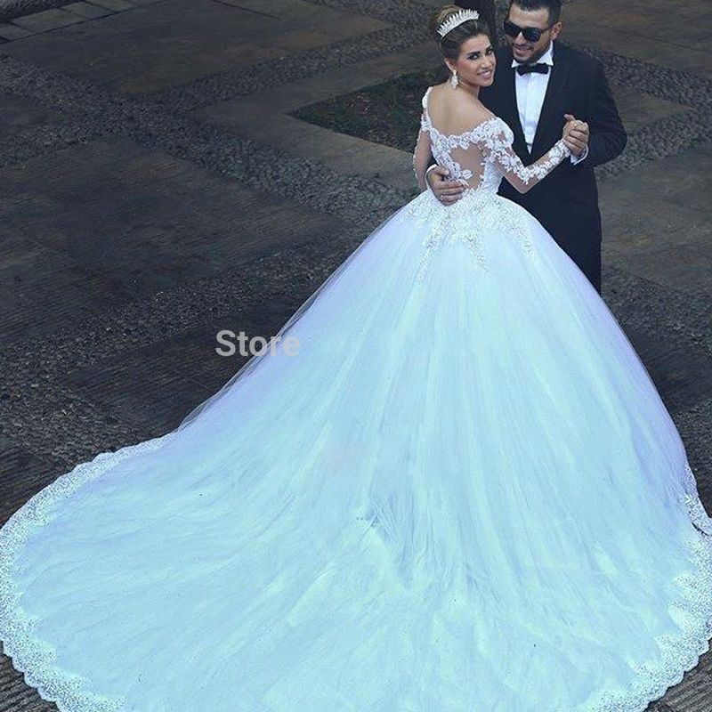 Vnaix Lace Sheer Long Sleeves Wedding Dress 2016 Liques Ball Gown With Train Bridal Gowns Casamento