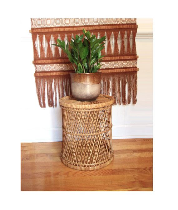 Boho Rattan Plant Stand/ Wicker Plant Stand/ By DragonflyGypsySoul
