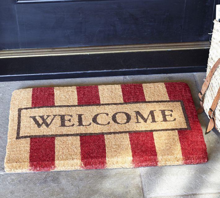 open front door welcome. Welcome Stripe Coir Door Mat 18 X 30 \ Open Front E