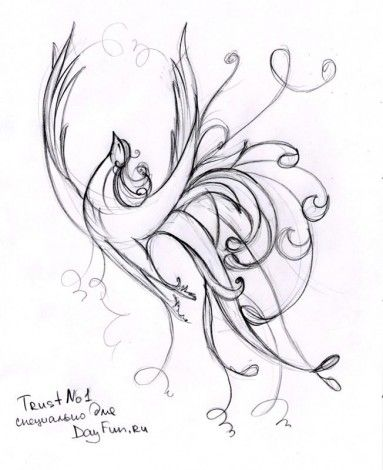 Как нарисовать жар-птицу карандашом, поэтапно?