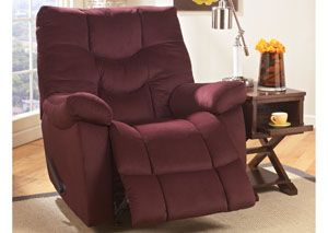 Landmark Burgundy Rocker Recliner At Home Furniture Store