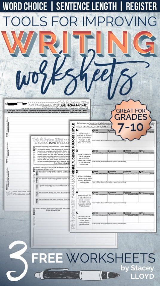 FREE Tools for Improving Writing WORKSHEETS   High School English ...