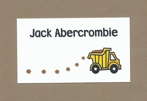 Dump Truck Calling Cards - Dump Truck Gift Bag Tags - Treat Bag Tags - Children's Gift Enclosures