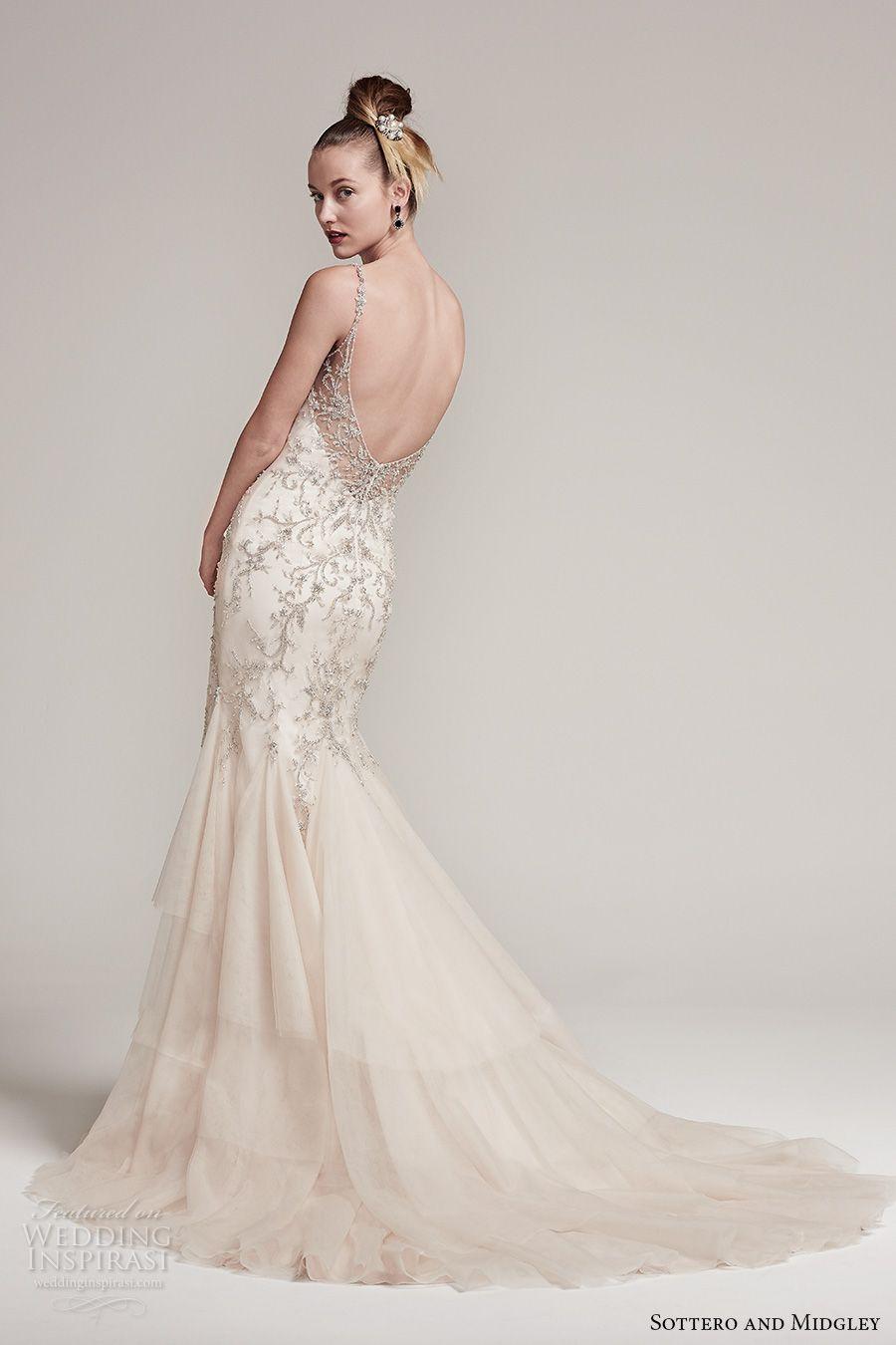sottero midgley fall 2016 bridal sleeveless spagetti strap v neck heavily  embellished bodice elegant glamorous fit and flare wedding dress open back  chapel ... 2b6a7a069