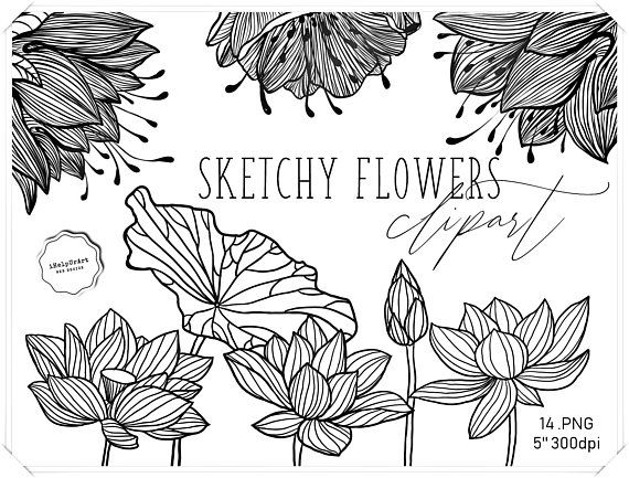 Flowers Clipart - Black and white Flowers Clip Art ...