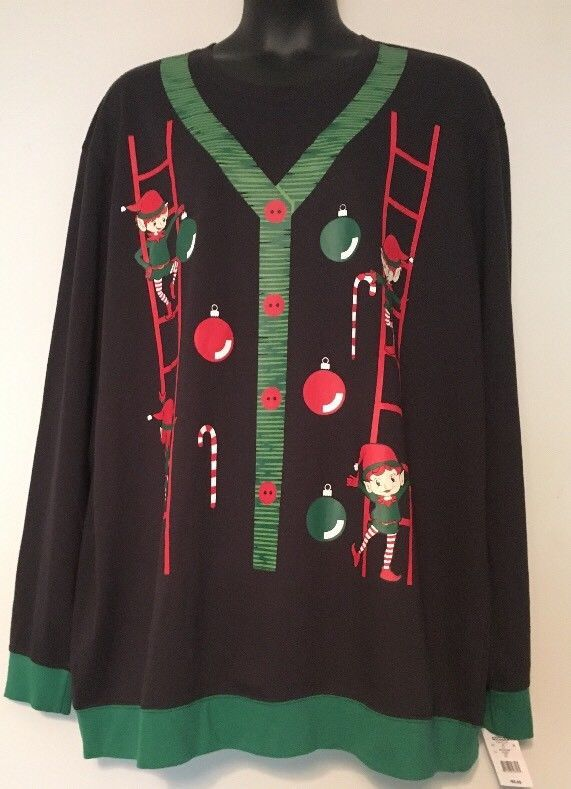 3xlt Ugly Christmas Sweater Sweatshirt Elves Candy Canes 3xl T New