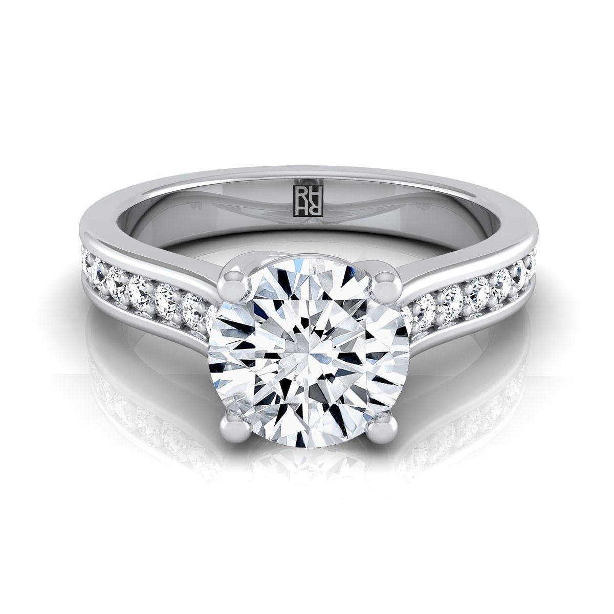 Diamond Solitaire Engagement Ring With Pave Shank In 14k White Gold 1 3 Ct Tw Engagement Rings Channel Set Classic Engagement Rings Engagement Rings