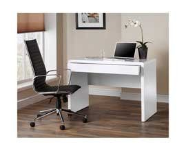 Luxor Gloss Workstation Desk With Hidden Drawer White Amazon Co Uk Office Products Rumah