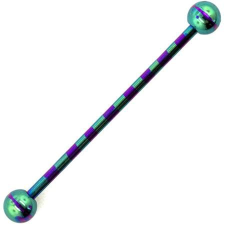 Hot Silver 14G Stainless Steel Anodized Industrial Barbell