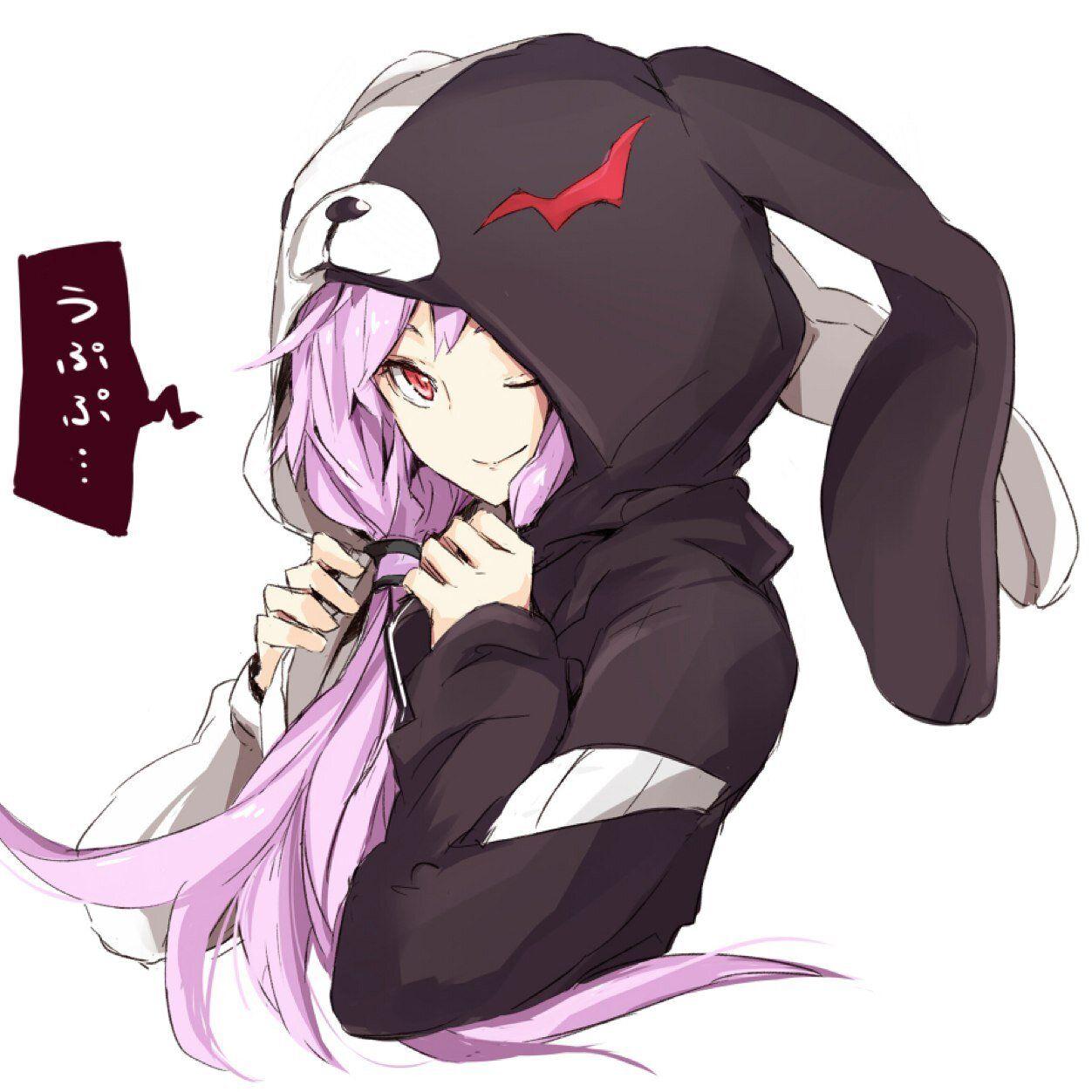 Anime Girl In Hoodie: Yuzuki Yukari Wearing A Bunny Monokuma Hoodie XD