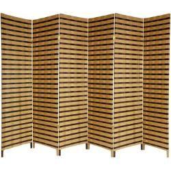 Room Divider   Wood And Natural Fiber Two Tone Room Divider (China)