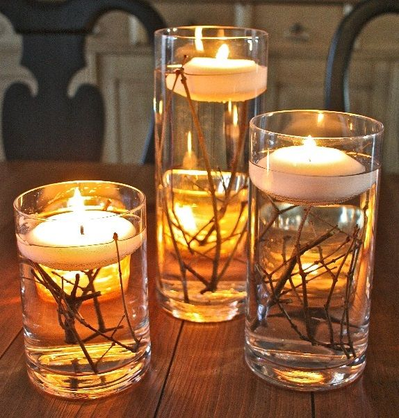 Floating Candles Centerpieces Ideas For Weddings: Sticks In Oil And Floating Candles